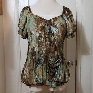 DRESSBARN brown tan green pleated top
